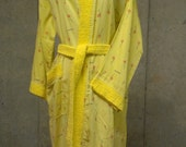 RARE Vintage Ted Lapidus Robe - Long Yellow Linen & Terry Cloth belt - Flowers and Logo Print - Red Roses - Collectible Fashion 1960's