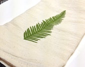 Pair of Flour Sack Cotton Napkins - Umbrella Fern design in olive green