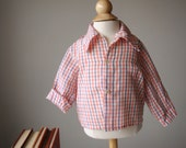 1970s Red, Blue & White Plaid Shirt, size 12 months