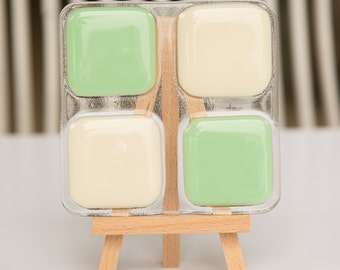 Fused Glass Coaster - mint and ivory