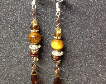 Long Dangle Tigereye Copper Brown Crystal Beaded Earrings Sterling Silver Earwires-- 3.5 inches -- ER-BEAD-1