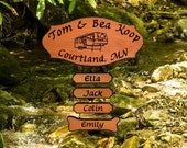 Carved Wooden RV Camping - Family Name Sign with add-on names and pet name - Custom Carved Redwood Sign