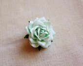Aquamarine Sweetheart Rose Millinery flower Brooch Pin- wedding corsage boutonniere, paper jewelry, decoration, embellishment