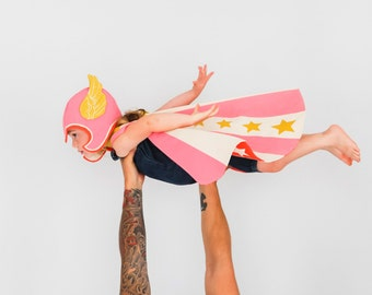 Flying Super Hero Costume Pink - Superhero Hat and Cape - Pink Wing Hat and Cape - Girls Dress-up - Super Hero Gift - Kids Costume -lovelane