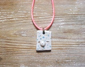 Ceramic Pendant. Mask #3. Ceramic Necklace. One of a kind hand molded charm. Hand made pottery mask pendant.