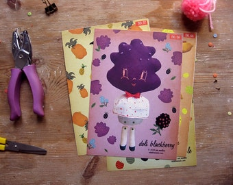 Blackberry Paper Doll. Articulated paper doll. DIY cut out moveable paper puppet. Retro Collectibles.  Fruit Paper doll.