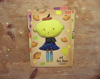 Lime Lemon paper doll. DIY cut out paper puppet. Anthropomorphic Moveable paper doll. DIY Paper Craft. Cut-out. Home decor. Kids wall decor.