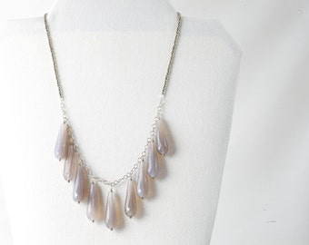 Waterfall natural gemstone necklace agate pyrite sterling silver necklace adjustable