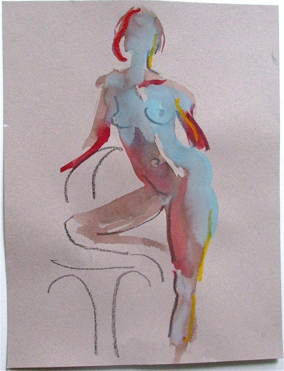 Nude 1271- original watercolor painting by Gretchen Kelly