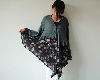 Batik Tunic / Hand Dye jacket / Long Sleeve Tunic