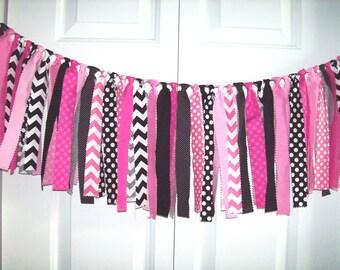Minnie Mouse Rag Tie Banner, Pink-Black Rag Tie Garland, Rag Banner, Photo Prop, 1st Birthday, baby shower, Birthday Banner, party decor