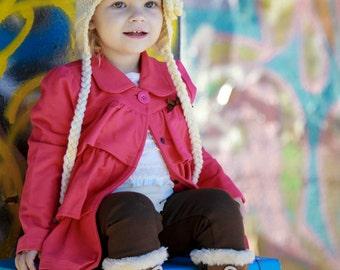 Girls crochet hat - ear flap hat - Toddler hat - Infant hat - Winter hat - white hat - flower hat - newborn hat - cream hat - baby girl hat
