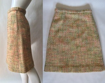 Midcentury boucle skirt, 1950's / early 1960's, in cream with shades of yellow, coral pink, green, blue, and brown, medium / large (10 - 12)