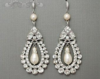 Rhinestone Teardrop Bridal Earrings, Pearls Wedding Earrings, Dangle Earrings, Ivory White Swarovski Crystal Pearls, Vintage Style Earrings
