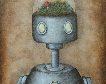 Robot Art Print - Felix (robot no.8) - giclee print, gifts for him