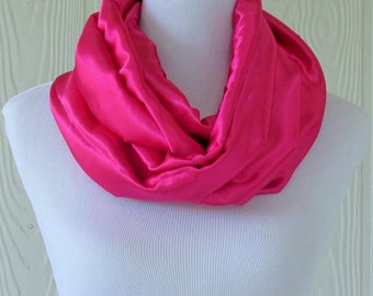 Silky Pink Infinity Scarf, Women's Fashion Scarf, Circle Scarf, Loop Scarf, Tube Scarf , Women's Scarves, Eclectasie