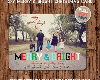 Christmas Card  :  Merry & Bright Christmas Custom Photo Holiday Card