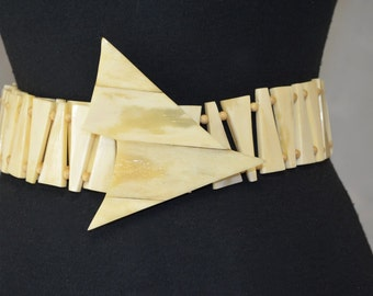 Belt by Jerry Moss.  Hard carved and Polished Bone. Wood Beads. Tribal Style. Statement Belt. One Size.