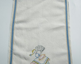 Vintage Towel Pigtailed Girl Dries the Dishes
