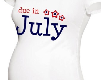 Due in July patriotic stars  long or short sleeve maternity or non maternity pregnancy announcement Tshirt