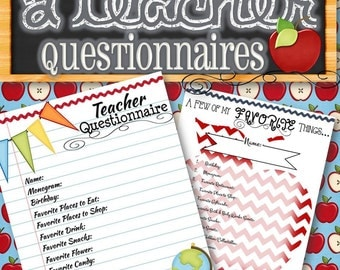 2 Teacher Questionnaires - INSTANT DOWNLOAD