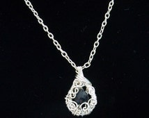 Blue Sapphire September Birthstone Necklace,  Woven Silver Wire and Genuine Sapphire Pendant Style Necklace