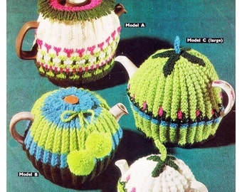 4 knitted Tea Cosies.  - Digital Knitting Pattern