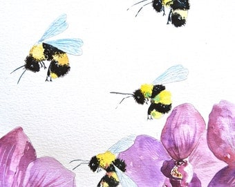 """Watercolor Painting, ORIGINAL, Bees and Orchids, 9""""x12"""""""