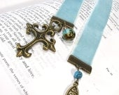 Bible Bookmark Blue Velvet Ribbon Cross Beads Jesus Charms Mom Mothers Day Gift Free US Shipping