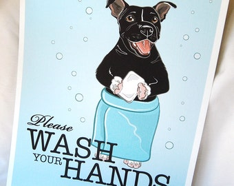 Wash Your Hands Pit Bull - 8x10 Eco-friendly Print