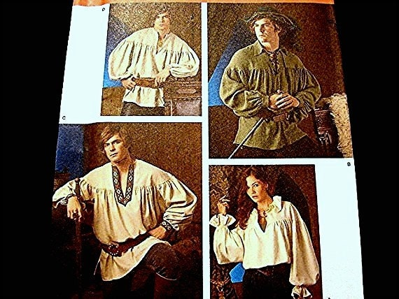 Historical Simplicity Costume Pattern Poet, Pirate, Peasant, Puffy Shirt Pattern Rogue Hero Costume UNCUT Adult Size XS-S-M-L-Xl Mens Womens