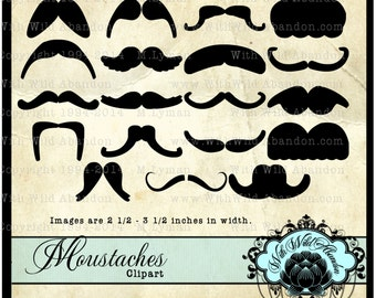 Mustache Clipart, Mustache Party Favors, Mustache Silhouettes, Photobooth Prop