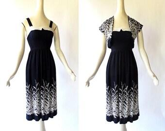 1950s Dress with Bolero Jacket / Wild Grass Print Dress / 50s Sundress / XXS