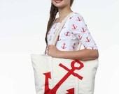Tote Bag Sewing Pattern, Tote Bag Pattern, Nautical Tote Bag Pattern, Anchor Tote Bag Sewing Pattern, Anchor Applique pattern, Anchor Tote