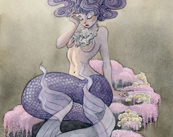"Lavender Mermaid - 11 x 15"" print"