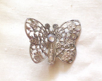 Vintage Filigree Butterfly Pin Brooch with Rhinestone