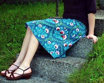 Sweet Josephine A-line skirt, Ink blue, Semi Gatherd A-line Skirt, knee length, hip sizes 30-56 inches