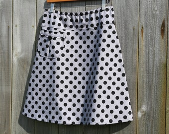 A-Line Skirt With a Pocket, Classy Polka Dot, bLaCk aNd GrAy, PolKa DoT sKiRt, Aline skirt, women's 2-24