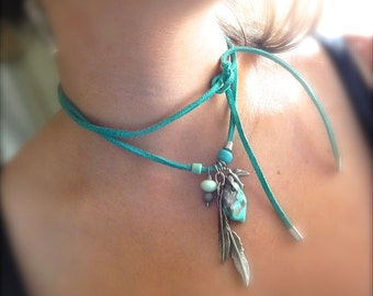 BoHo Feather Necklace, Genuine Turquoise, Feather Necklace, Leather Tie Necklace, Feather Charm, Charm Necklace, Boho Necklace, Southwestern