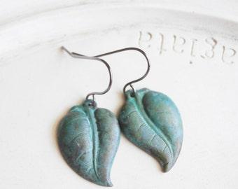 Patina Jewelry - Verdigris Leaf Earrings