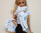 Handmade Barbie Clothes Hobo Bag Scarf