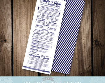 Here's How it's Going to Go Wedding PROGRAM CARD - Funny / Unique - Modern Fully Customizable Destination Wedding Printable DIY Digital File