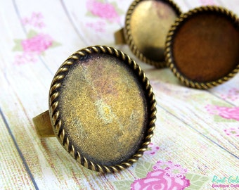 Round Brass Bronze Ring Blank base setting for 25 mm , 1 inch cab , Adjustable wide band, oxidized rustic finish,  Statement ring bezel tray