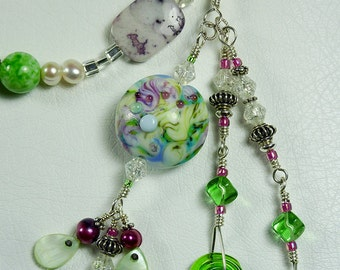 BirdDesigns Sterling Silver and Handmade Lampwork Necklace - ooak - J566