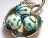 Christmas Felted Wool ornaments 3 felt balls or eggs white teal blue green pale yellow winter home decor Weddings favor tree decoration