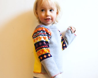 scandi heart fleece sweatshirt top - baby - bright nordic print/heather grey/yellow - cosy for winter