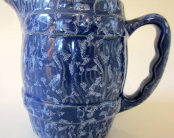 Blue Pitcher Creamer Ranch House USA Barrel Design Collectible Gift Rare