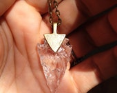 Arrowhead Necklace Clear Your Mind Glass Quartz Tribal Necklace Made to order Customizable