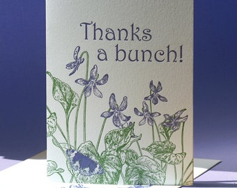 Blue Violet Thank You and Blank Note Card