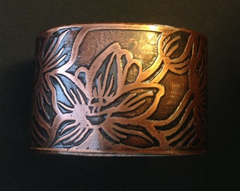Hawaiian Orchids - Etched Copper Cuff - Hand Drawn and Etched - Personalized Jewelry- made in Austin, Tx